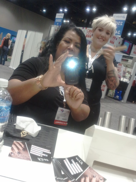 Hair stylist, Twyla, straightening my hair!