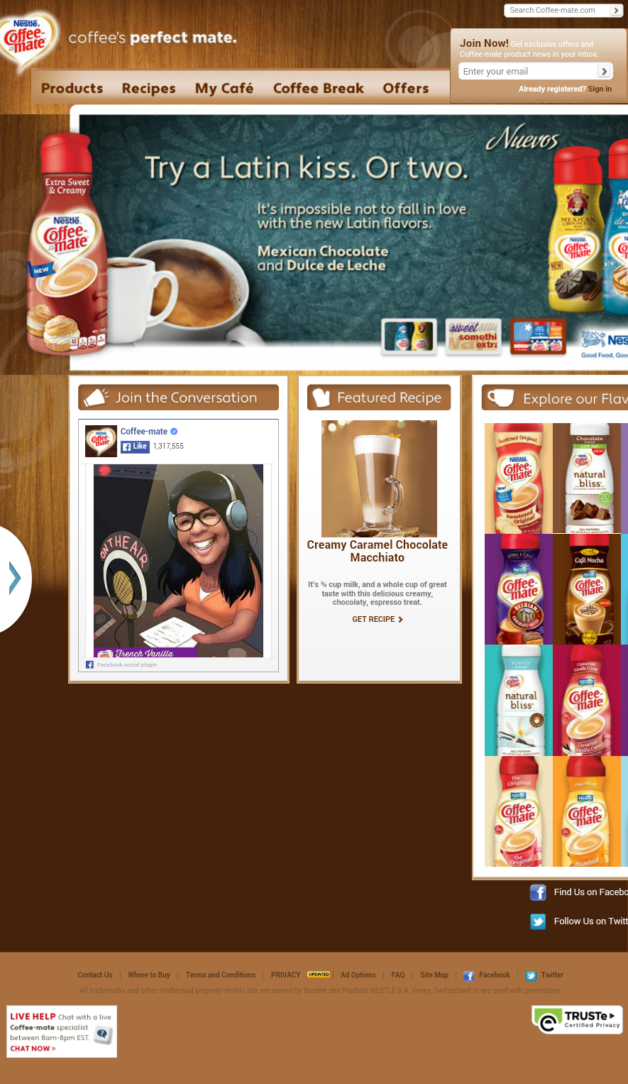 CoffeeMate Homepage