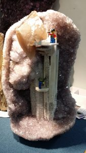 LEGO men inside of a huge geode